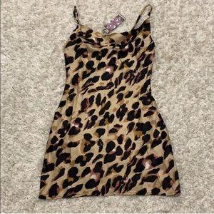 Leopard silky slip cowl dress